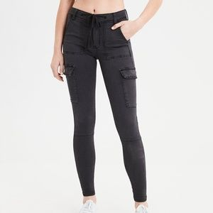 AEO Hi-Rise Super Stretch Cargo Jeggings 4 Long